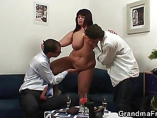 Chubby Mature And Her Two Young Lovers
