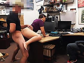 Long Hair Lesbian Gets Pussy Fucked In Doggystyle In The Shop