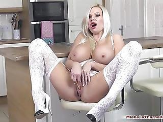 Busty Blonde Has Shuddering Orgasm Finger Fucking And Toying