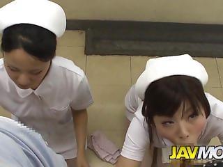 아시아의, 입, 병원, 일본의, 못된, 간호사, 침, 제복