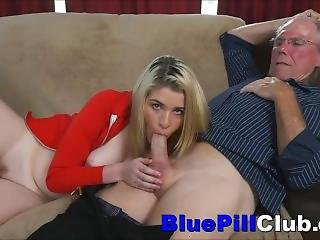 Teen Whore Toyed Before Sucking & Fucking Old Dude