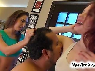Sweaty Gym Armpits - Cuckold Slave Fido Licking Our Sweaty Armpits