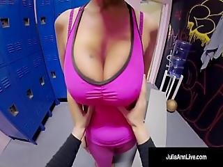 Famed Milf Julia Ann Gets Jizz At Gym With Pov Bj Head Cam