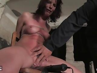 Dana Dearmond Intense Bondage In Basement With Tight Gag, Whips N Orgasms