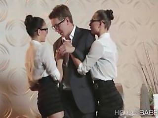 Two Lovely Babe Gets Pound By Their Boss
