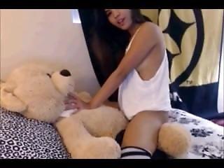 Girl rides teddy bear pity, that
