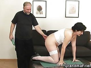 grossmutter, geil, unterwäsche, Reife, alt, dreier, weiss, jung