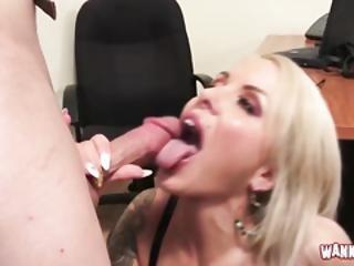 blond, blowjob, tissemand, fed, milf, kontor, sekratær, sexet, uniform