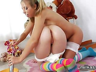 Foxy Lesbos Fill Up Their Oversized Asses With Whipped Cream And Squirt It Out