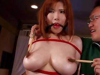 Bigtitted Oriental Tied And Drilled In Advance Of Cum