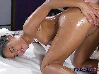 Massage Rooms Stunning Spanish Teen�s Tiny Pussy Filled With Big Cock