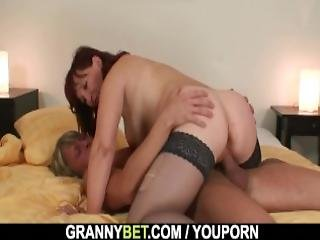 Old Granny In Stockings Rides Stranger S Cock