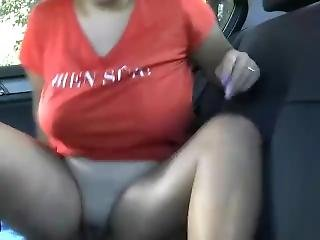 amateur, ange, bonasse, gros téton, voiture, masturbation, chatte, caresse de chatte, frotter, solo, webcam