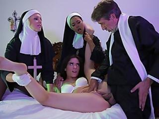 Julia Enjoys Victoria Tongue And Priest Dick In Her Pussy