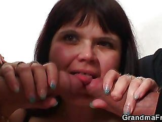 Mature Slut Gobbles Cock For Sex