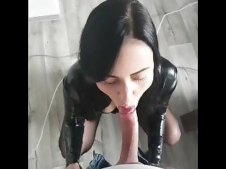 Brunette In Latex Sucks That Dick