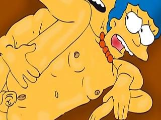 Desperado Housewife Marge Simpson Like Anal Masturbation With Different Sex Toys And Anal Penetrations With Huge Dicks Of Husband Homer And Neibours
