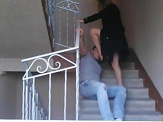 Very Hot Ballbusting On The Stairs