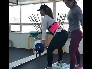 aziatisch, lesbisch, sexy, trainen, werkplaats