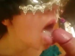 Mysterious Blonde Takes A Load In Her Mouth!