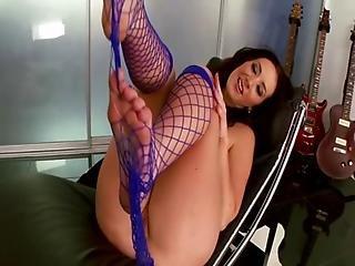 Busty fishnet feet fetish babe fingering and sensual