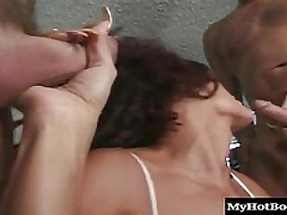 Anal, Big Boob, Blowjob, Boob, Brunette, Cumshot, Double Blowjob, Double Penetration, Facial, Hat, Melons, Penetration, Threesome