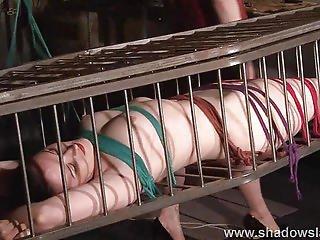 Caged American Fetish Model Caroline Pierce In Hot Wax Bdsm And Deprived Lesbian Kink