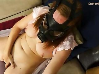 fetisch, maske, onanieren, rotschopf