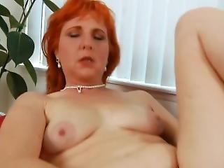 Redheaded Sasha Masterbating Hairy Wet Pussy