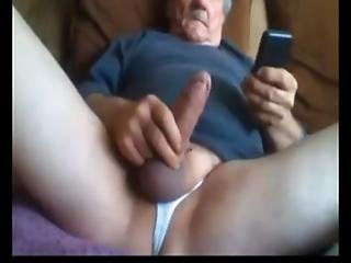 An Older Man Enjoys Playing With His Big Uncut Cock On Cam - No Cum
