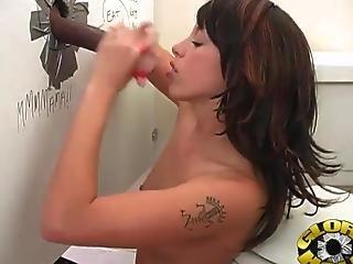 Horny Girl Have Giant Ebony Penis To Suck Inside Toilet