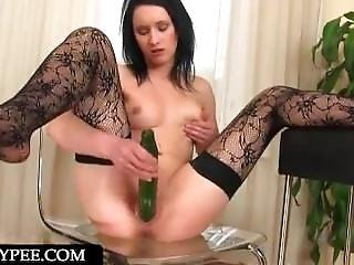 Huge Cucumber Fills Pussy