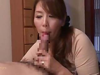 Chisato Shoda Gives Her Son A Long, Sloppy Blowjob, And Swallows His Jizz