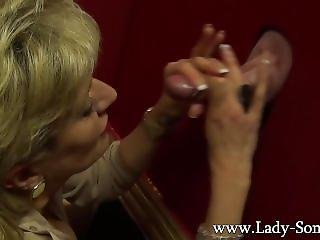 Busty Milf Lady Sonia Milking A Huge Dick On The Gloryhole