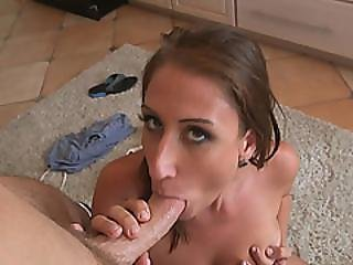 Kitchen Fucking With Bit Titted Milf Skyler Luv And Big Cocked Horny Stud!