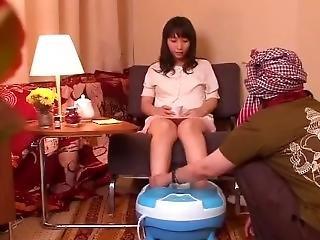 ventre, fétiche, japonaise, massage