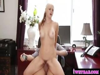 Hot Mom Fucks Stepson In Her Office While Hubby Is On Phone