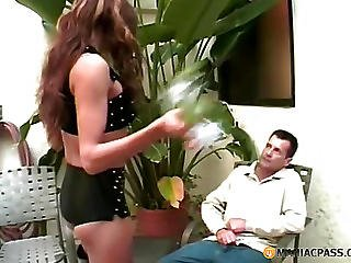 Brunette Stroking His Big Dick Is Not