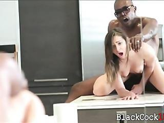 Sara Luvv Banged By Throbbing Black Dick In The Kitchen