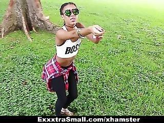 Exxxtrasmall - Cute Tiny Ebony Bounces On Big Cock