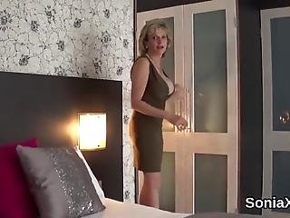 Chesty Bisexual Housewife Lady Sonia Fondles Her Big Balloons And Rubs Tight Cunt In Lingerie