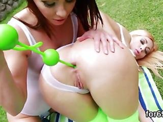Lesbian Hotties Gape Their Deep Buttholes And Penetrate Hefty Dildos