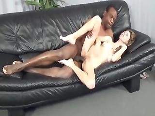 Skinny Busty And Hairy Bitch Loves Her First Bbc On Couch