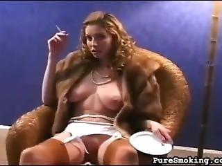 Stunning Blonde Smoking In Fur Coat No Knickers