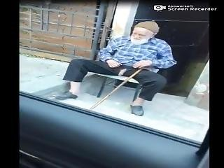 Old Arabic Grandpa Playing With His Cock