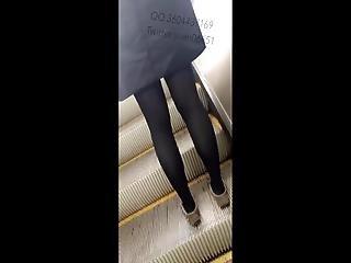 Cum On Asian Girl Pantyhose Leg On Escalator