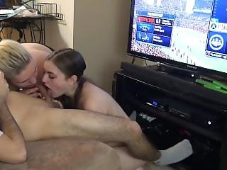 Blonde And Brunette Sandwich Orgy