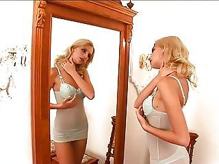 Blonde Honey Masturbates In Front Of The Mirror