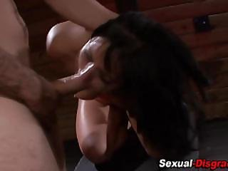 Bound Slave Gags On Cock