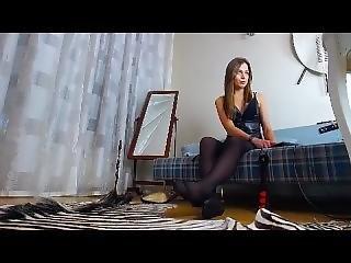 svart, svarte strømper, brunette, sexy, solo, strømpe, webcam